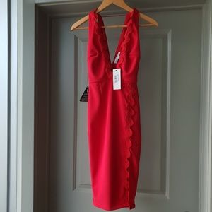 Nasty Gal Deep Plunging Red Bodycon Dress